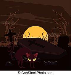scen, katt, kyrkogård, halloween, mörk