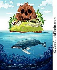 scena, con, isola, e, balena, subacqueo