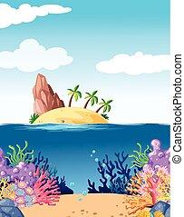 scena, con, isola, e, corallo, subacqueo
