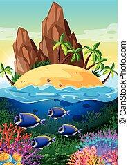 scena, con, isola, e, vita, subacqueo