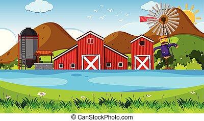 scena, esterno, fattoria
