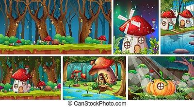 scena, fantasia, sei, notte, vilage, mondo, foresta, differente