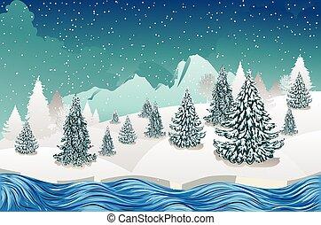 scena, fiume inverno