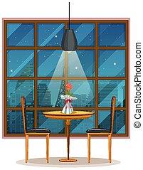 scena, fondo, vuoto, ristorante