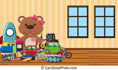 scena, giocattoli, molti, carino, pavimento
