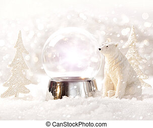 scena, globo, inverno, neve
