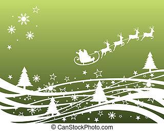 scena, -, kartka na boże narodzenie, zima