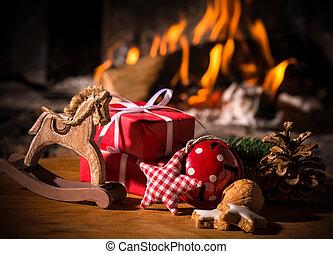 scena natale, con, albero, regali