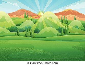 scena natura, con, alba, in, il, mattina