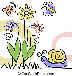 scena natury, z, ślimak