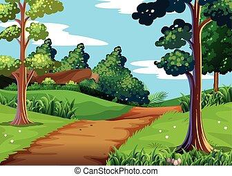 scena natury, z, las, i, pieszy, ciągnąć
