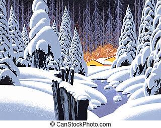 scena neve, con, granaio