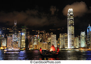 scena nocy, od, hongkong, cityscape