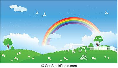 scena primaverile, con, arcobaleno