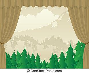 scena, regione selvaggia, palcoscenico