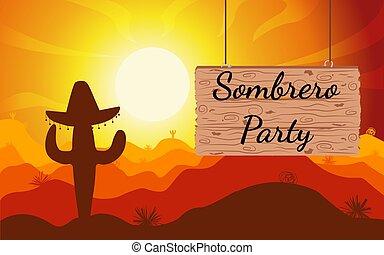 scena, space., posto, legno, cactus, copia, desert., weeds., tramonto, sombrero, nelle vicinanze, testo, sunset., pianta, segno., vettore, deserto, illustration.