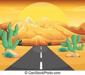 scena, strada, deserto
