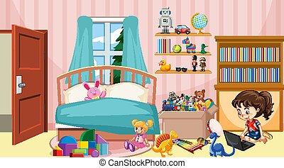 scena, sypialnia, pracujący, komputer, dziewczyna