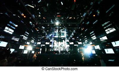 scena, taniec, dziewczyny, młody, nightclub, śpiewać