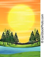 scena, wschód słońca, natura