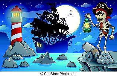scenario, 2, pirata, notte