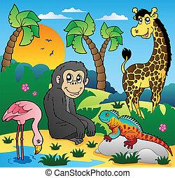 scenario, 5, animali, africano