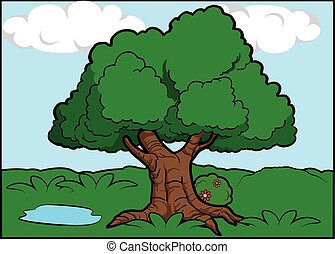 scenario, albero grande, intorno, foresta