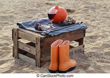 scenario, autunno, scatola, vino