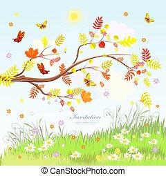 scenario, autunno, volare, albero, rustico, farfalle, ramo