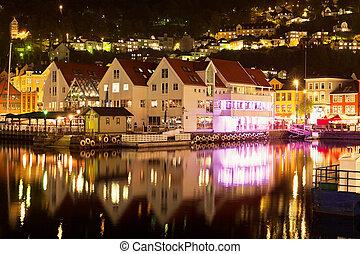 scenario, bergen, norvegia, notte