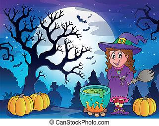 scenario, carattere, 3, halloween