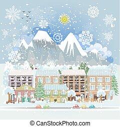 scenario, città, inverno