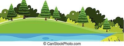 scenario, fondo, piccolo, colline, fiume