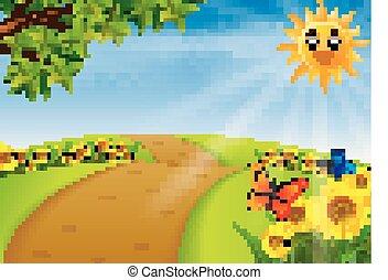 scenario, giardino, girasole