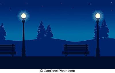 scenario, giardino, lampada, silhouette, strada, sedia