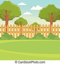 scenario, giardino, recinto