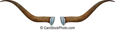scenario, illustration., frame., metallo, due, soggetto, elemento, fondo., vettore, animale, corna, bianco, viking., design.