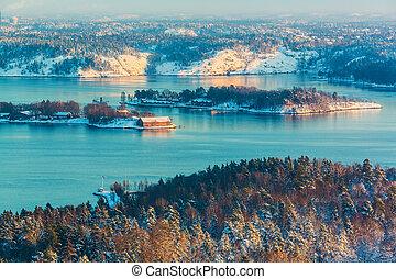 scenario, inverno, scandinavo