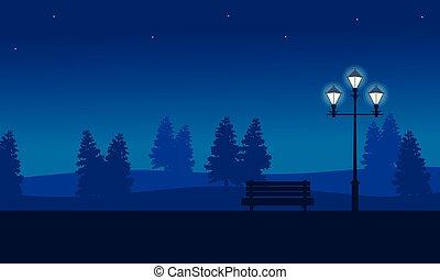 scenario, lampada, strada, giardino, notte