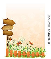 scenario, legno, giardino, freccia, asse