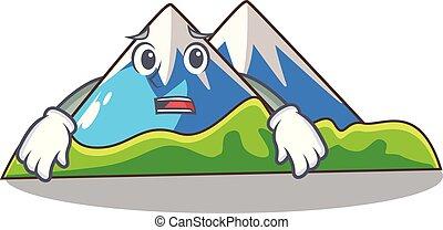 scenario, montagna, timoroso, isolato, mascotte