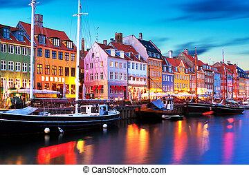 scenario,  Nyhavn, sera, Danimarca, Copenaghen