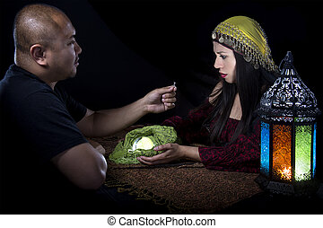 Scenario of male client proposing engagement to a female psychic