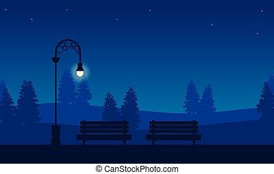 scenario, sedia, silhouette, giardino