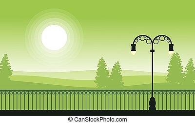 scenario, silhouette, tramonto, giardino