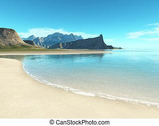 scenario, spiaggia, fondo