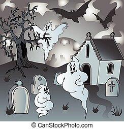 Fantasmi cimitero cartone animato cimitero fantasmi vecchio