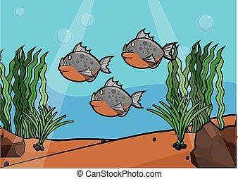 scenario, subacqueo, piranha