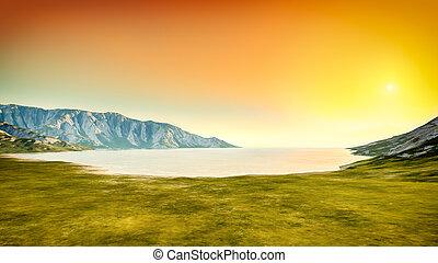 scenario, tramonto, fondo, natura
