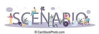 Scenario typographic header concept. Person create a ...